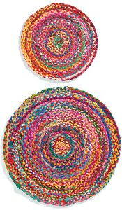 R1160 - Rugs ~ round multi colour cotton chindi braided rug 60cm ~ Fair trade through Folio gothic hippy